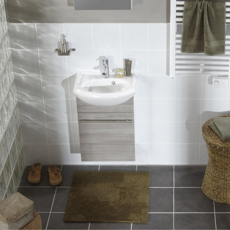 Fa ence mur blanc basic bossel x cm leroy merlin for Salle de bain faience bleu