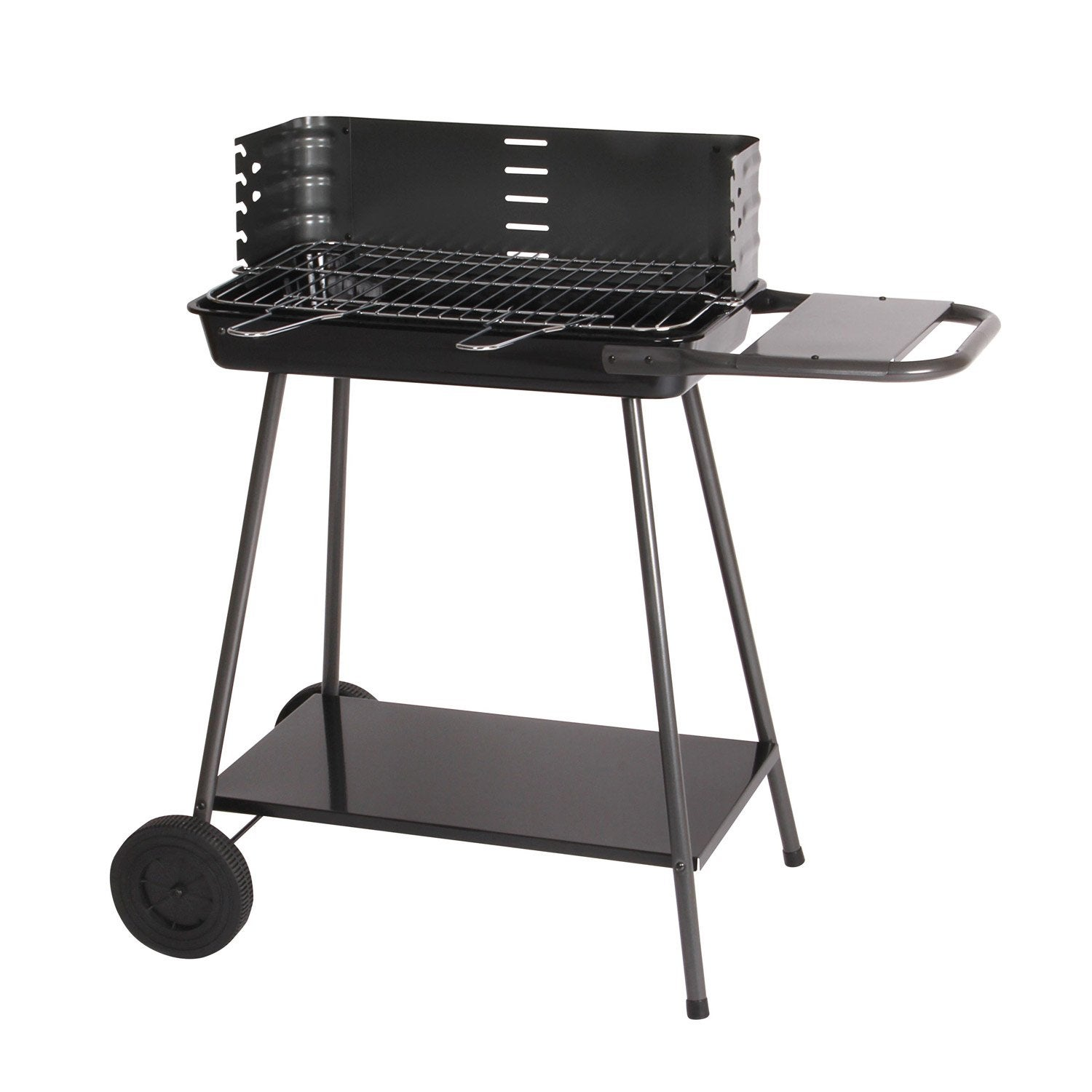 Barbecue au charbon de bois mad re noir et gris leroy - Barbecue de table charbon ...