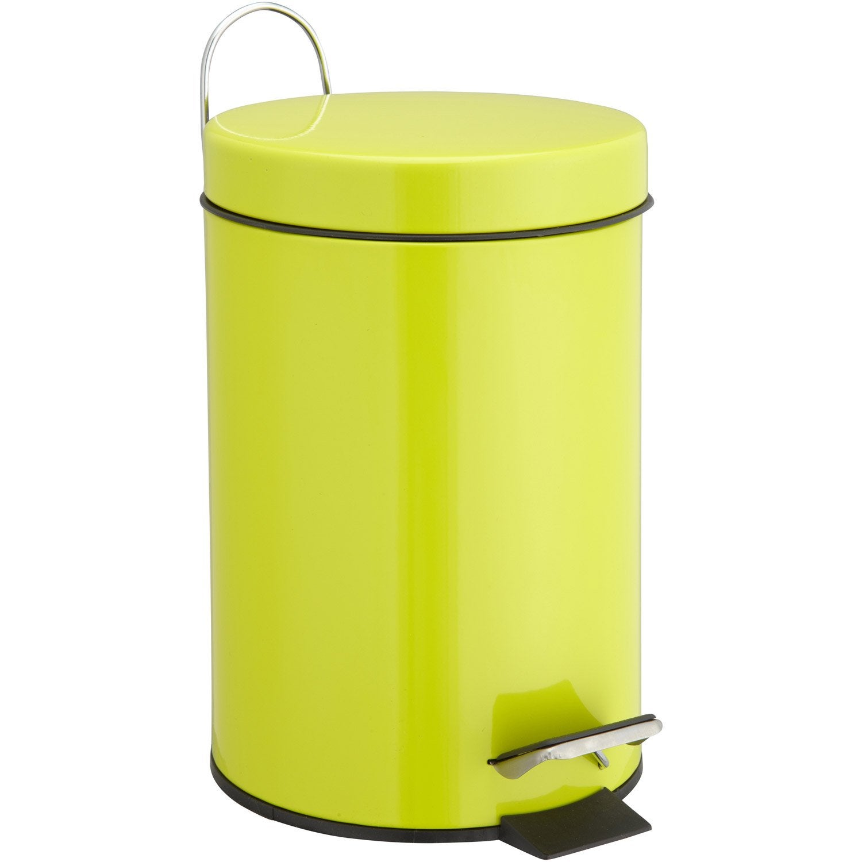 Poubelle de salle de bains 3 l jaune anis 3 sensea happy for Poubelle salle de bain leroy merlin