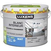 Peinture Séjours et chambres, blanc mat LUXENS, 10L + 20% gratuit