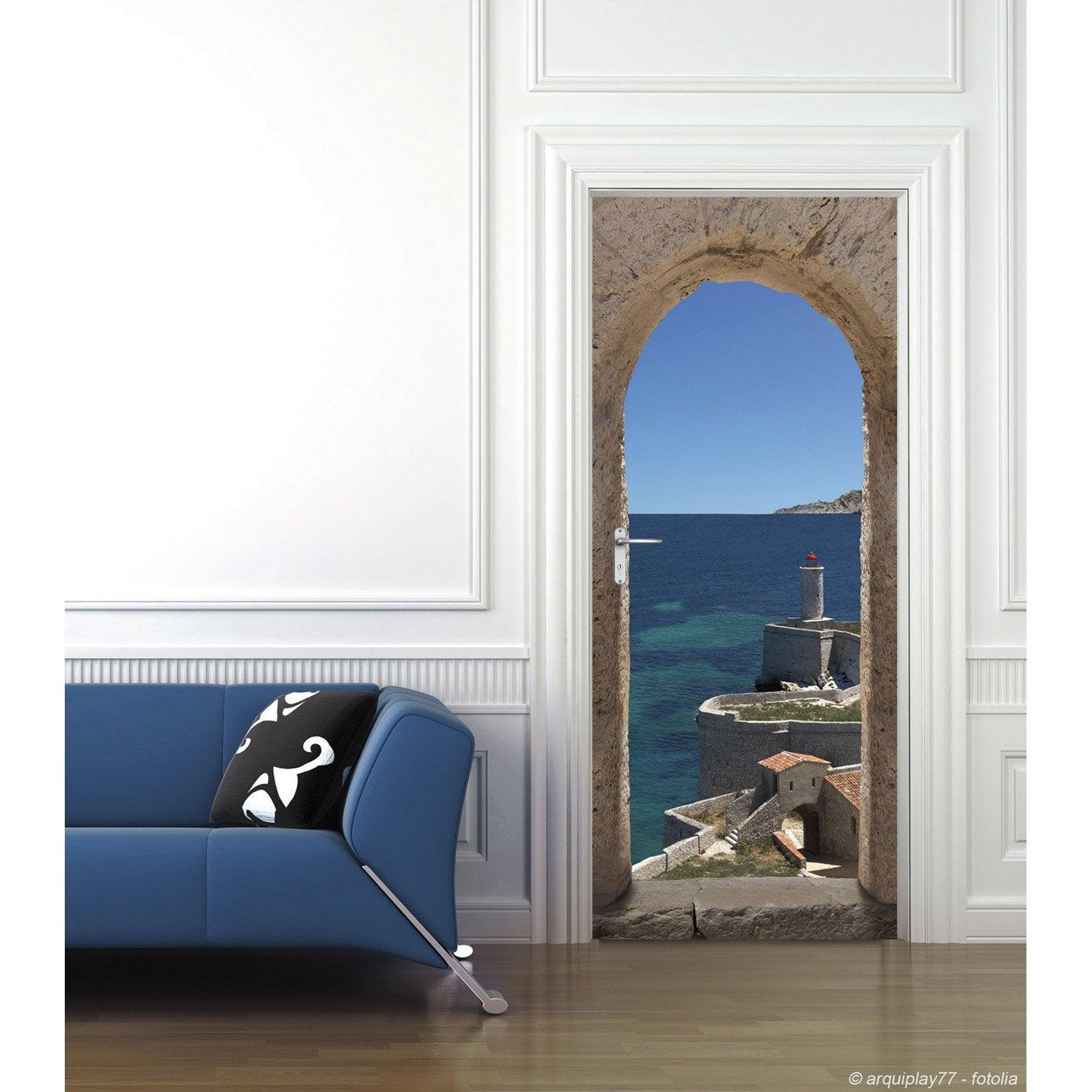 sticker porte ondoor chemin de ronde 83 cm x 204 cm leroy merlin. Black Bedroom Furniture Sets. Home Design Ideas