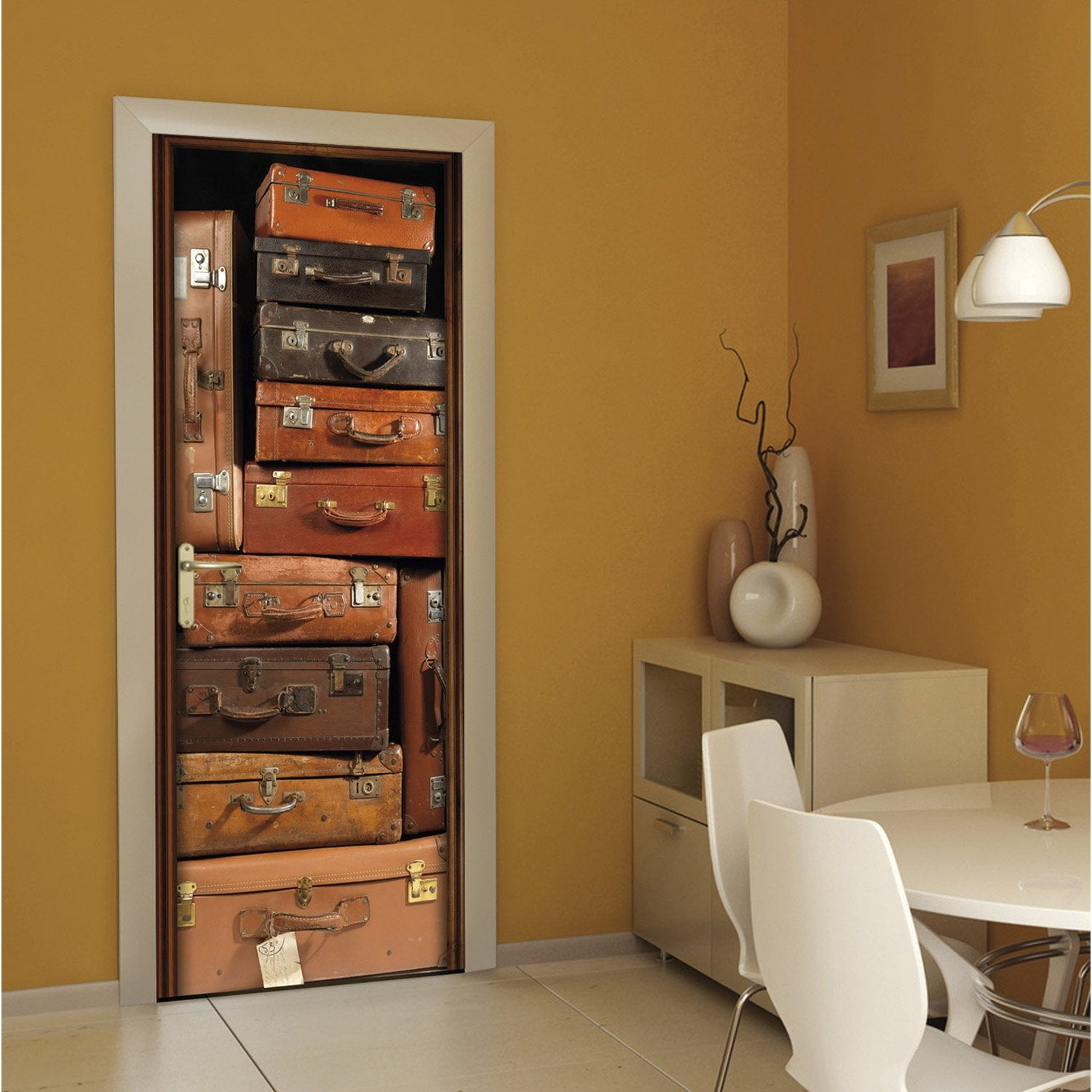sticker porte ondoor valises 83 cm x 204 cm leroy merlin. Black Bedroom Furniture Sets. Home Design Ideas