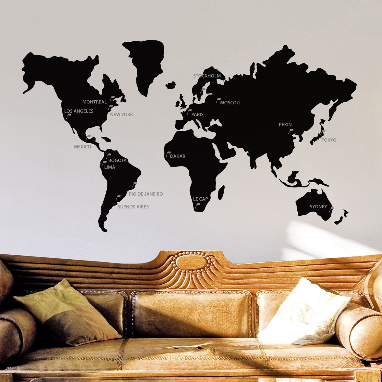 sticker mappemonde 50 cm x 70 cm leroy merlin. Black Bedroom Furniture Sets. Home Design Ideas