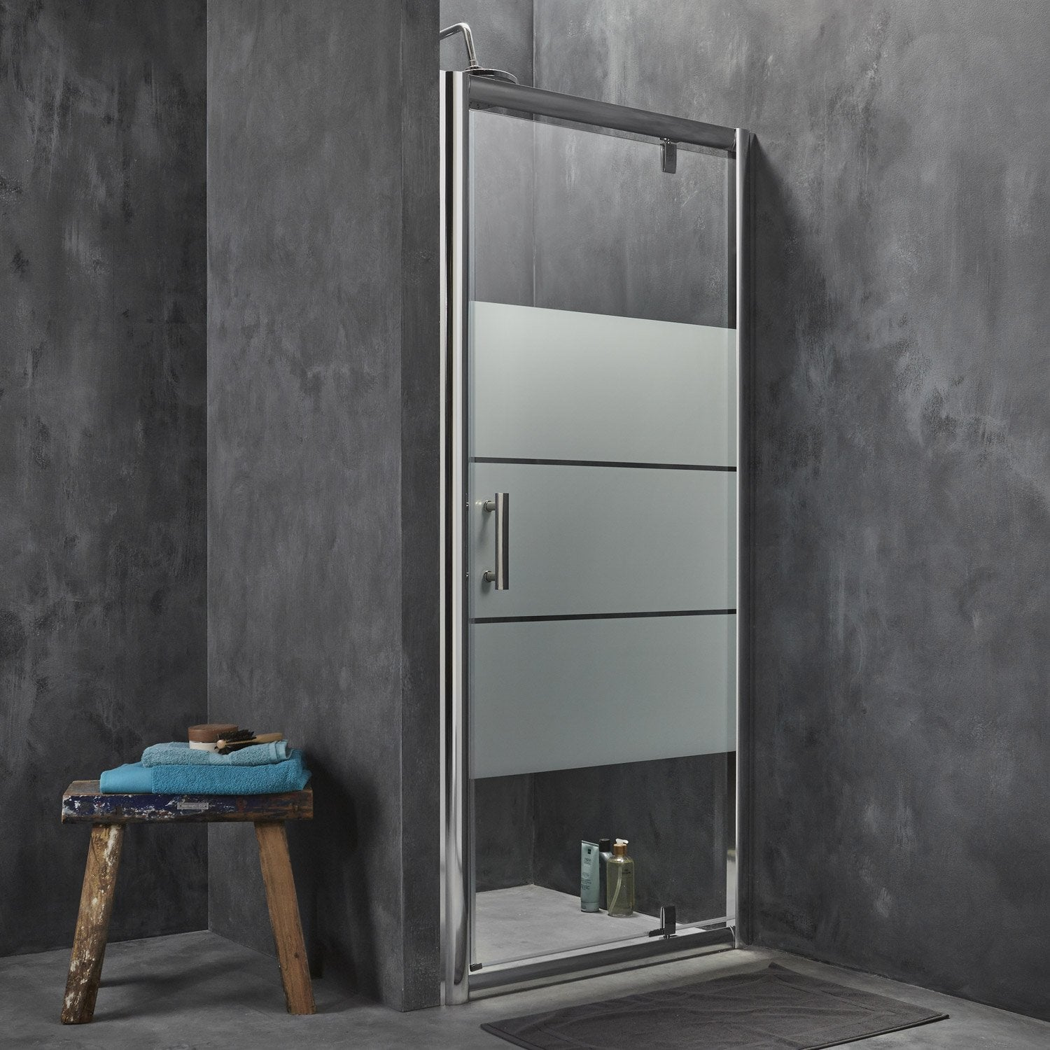 porte de douche pivotante 96 5 100 cm profil chrom optima2 leroy merlin. Black Bedroom Furniture Sets. Home Design Ideas
