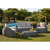 Salon jardin Isa résine tressée gris 1 banquette, 2 fauteuils, 1 table basse