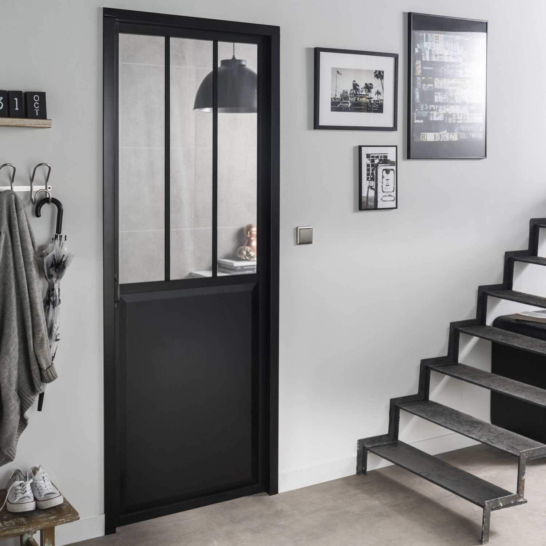 bloc porte noir atelier verre clair artens h204 x l8 - Verriere Cuisine Leroy Merlin
