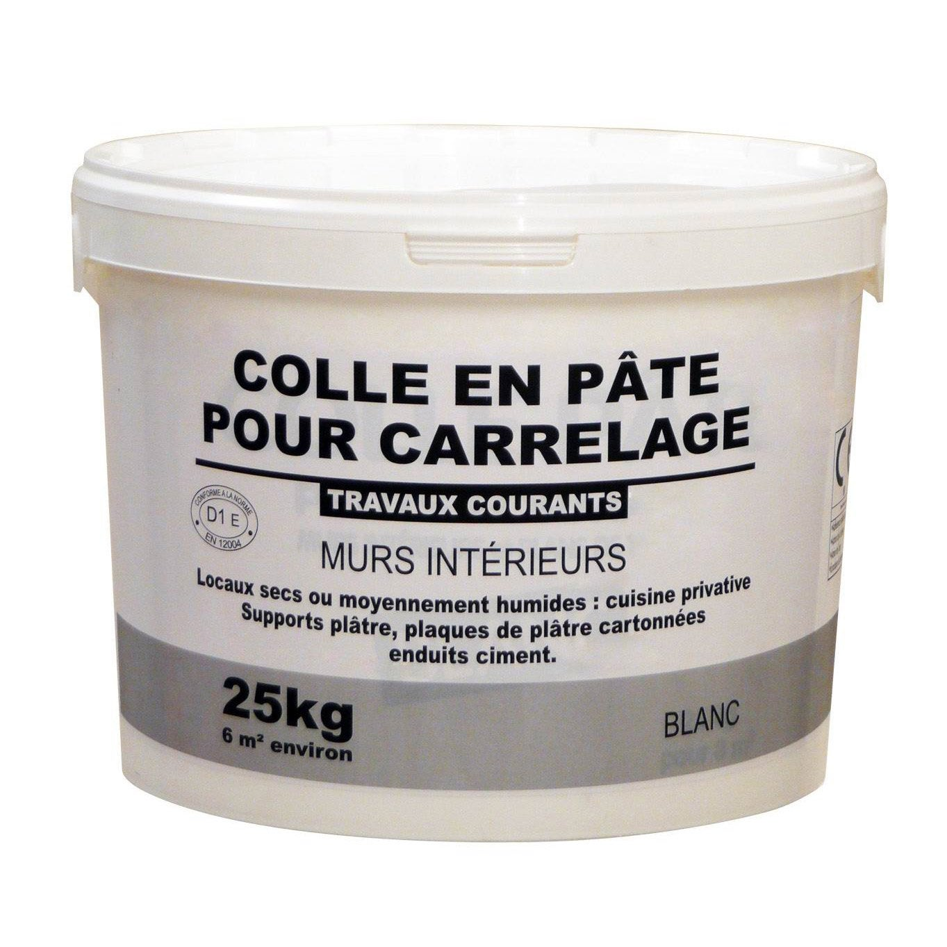 Colle en p te pour carrelage et mosa que blanc 25kg for Colle a carrelage
