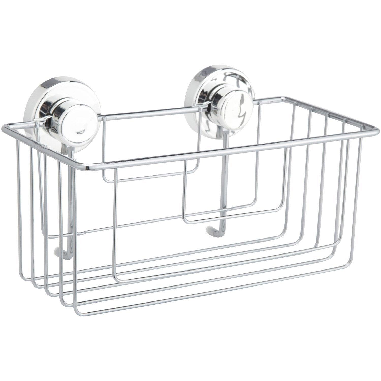 Etag re de bain douche d 39 angle ventouser chrom simply lock leroy - Etagere sans fixation ...