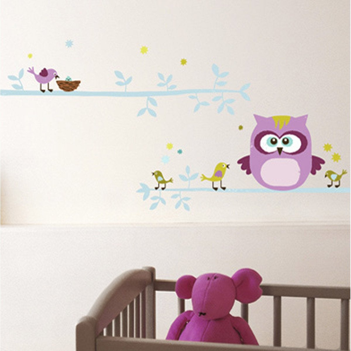 sticker hibou et cie 50 cm x 70 cm leroy merlin. Black Bedroom Furniture Sets. Home Design Ideas