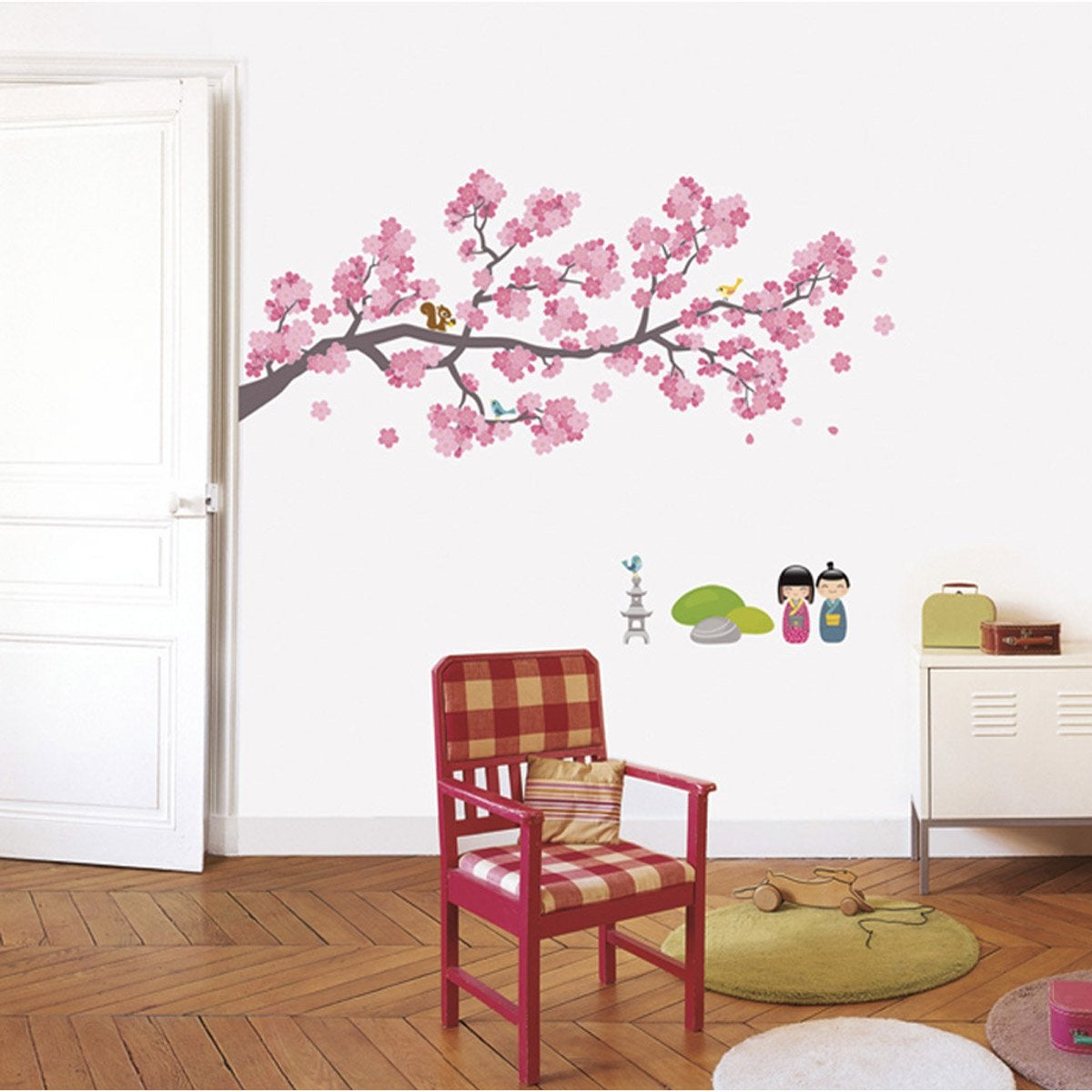 sticker branches cerisiers 49 cm x 69 cm leroy merlin. Black Bedroom Furniture Sets. Home Design Ideas