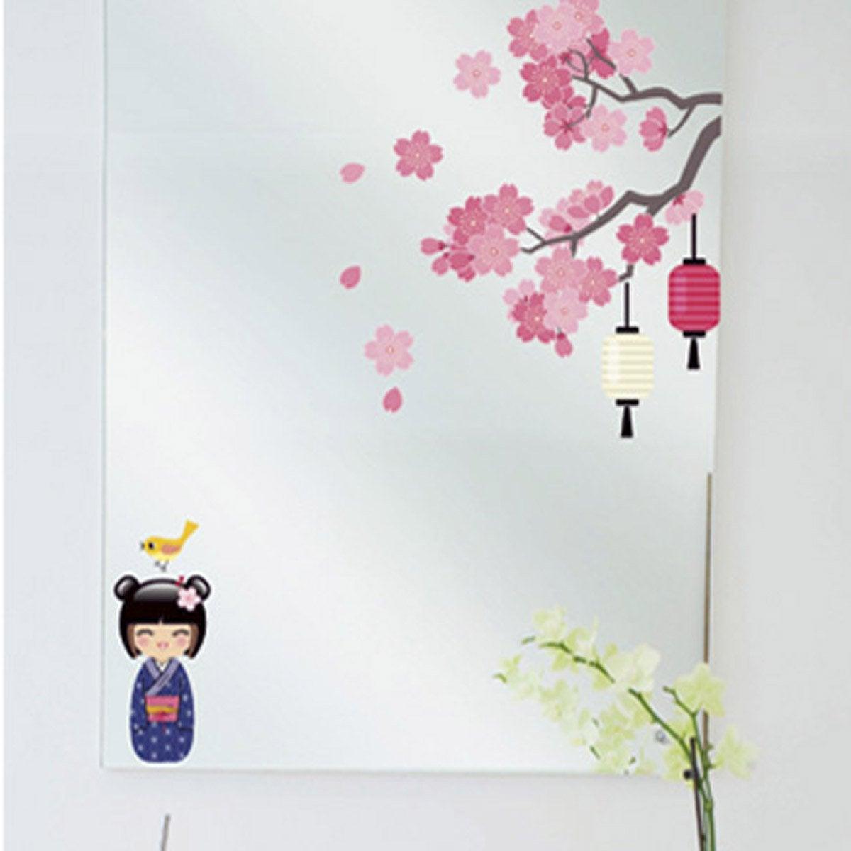Sticker printemps de la kokeshi 24 cm x 69 cm leroy merlin for Stickers pour fenetre leroy merlin
