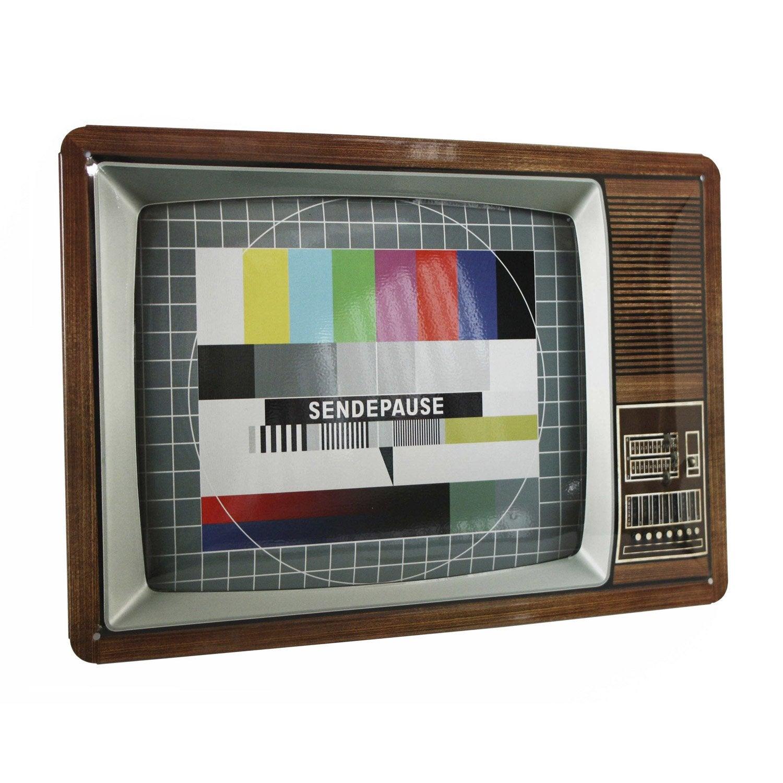 Plaque métal Télé l 30 x H 20 cm