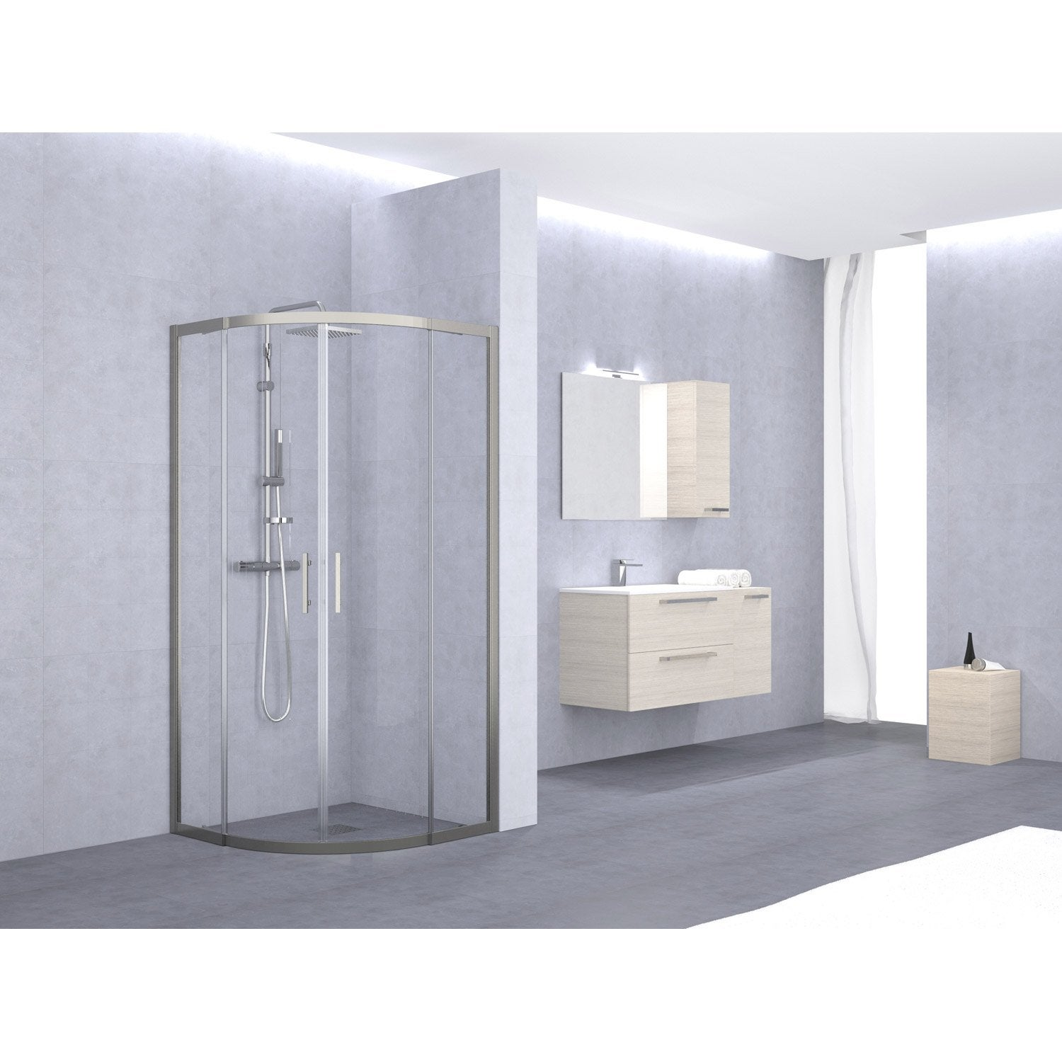 porte de douche coulissante angle 1 4 de cercle x l. Black Bedroom Furniture Sets. Home Design Ideas