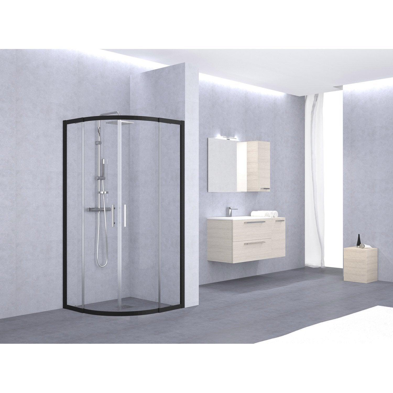 porte de douche coulissante sensea elyt verre transparent noir leroy merlin. Black Bedroom Furniture Sets. Home Design Ideas