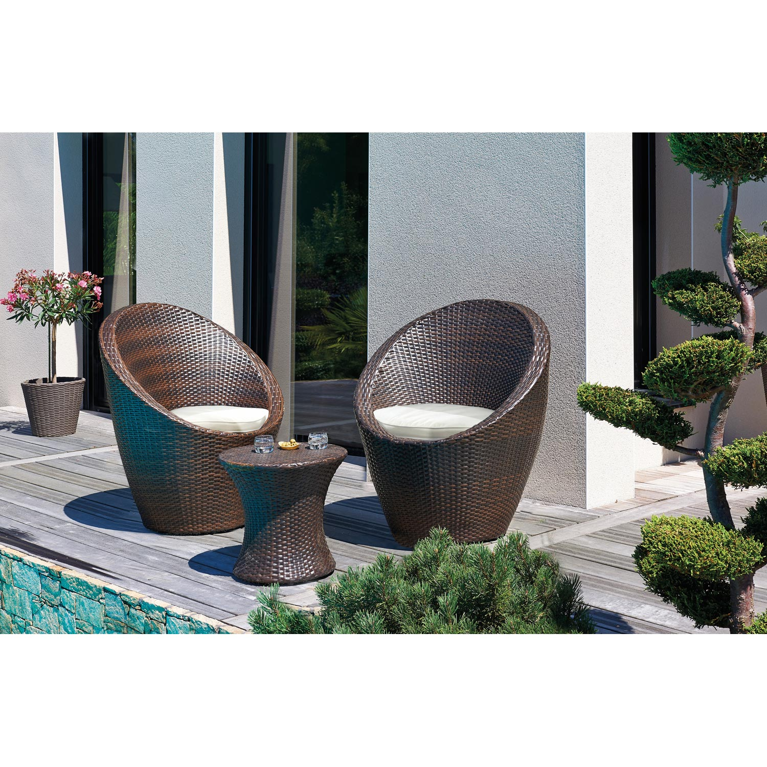 Salon bas de jardin totem r sine tress e chocolat 1 table 2 fauteuils leroy merlin Salon de jardin bas tresse