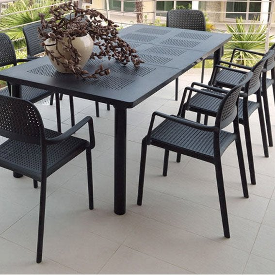 Salon de jardin libeccio gris anthracite 6 personnes for Table exterieur 10 personnes