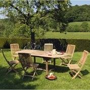 Salon de jardin Azur naturel, 6 personnes