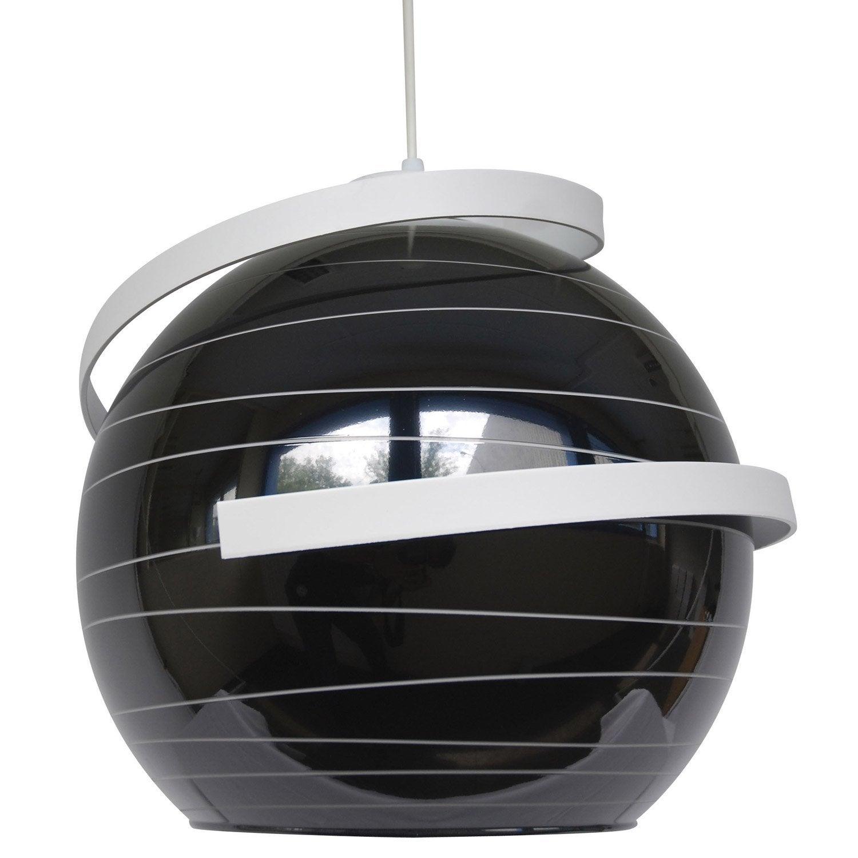 Suspension design shadow verre noir et blanc 1 x 75 w for Suspension noir et blanc