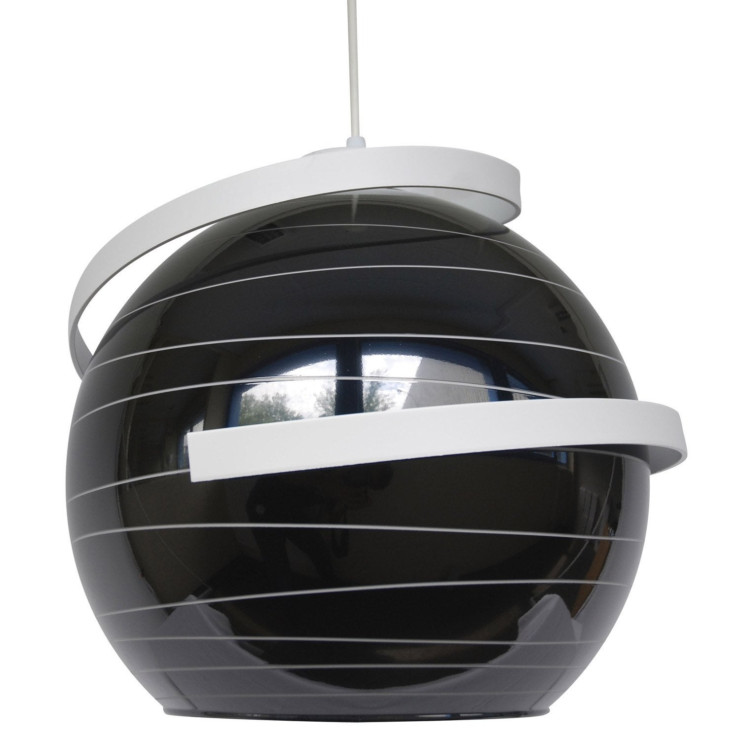 Suspension moderne shadow verre noir et blanc 1 x 75 w for Suspension moderne noir