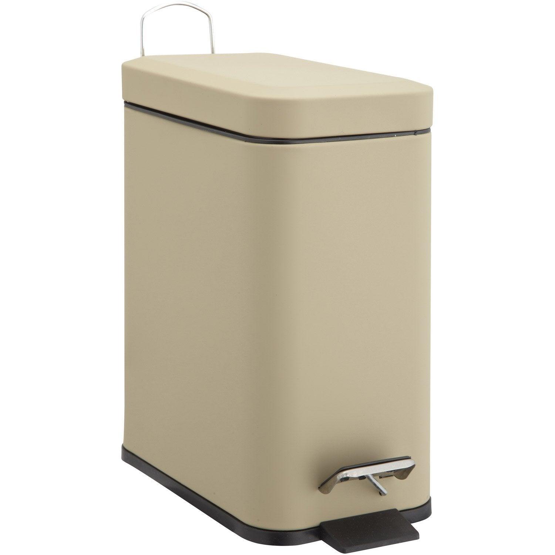 Poubelle de salle de bains 5l soft slim gris dor n 5 for Poubelle salle de bain leroy merlin