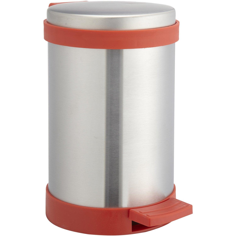 Poubelle de salle de bains 3L Soft close rouge rouge n°5  Leroy