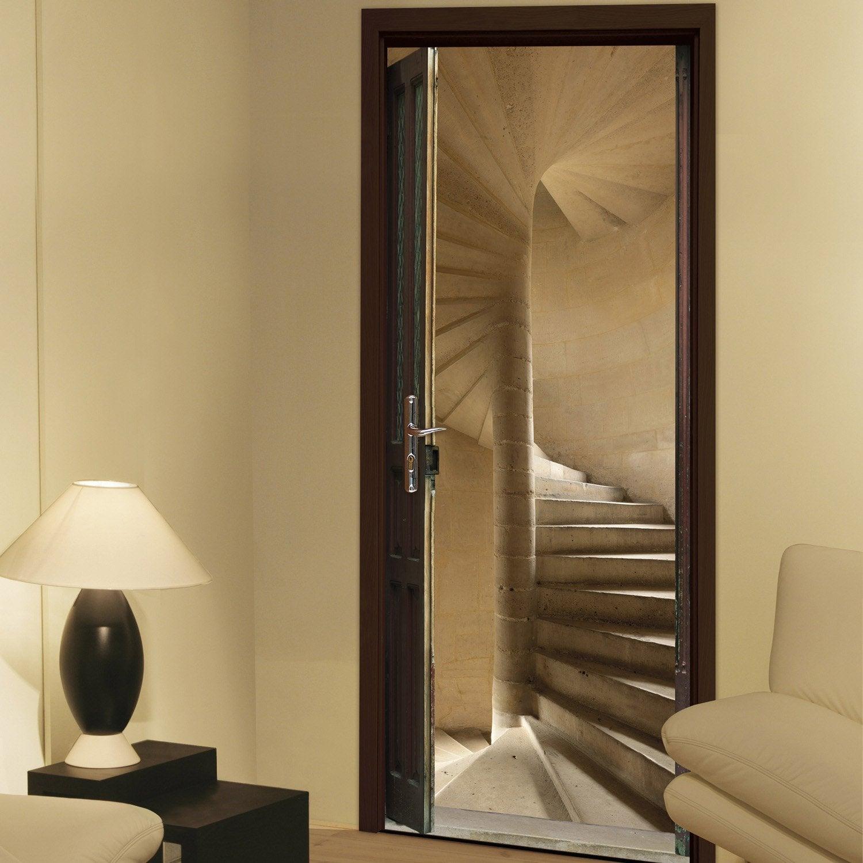 Sticker porte ondoor escalier vis 83 x 204 cm leroy merlin - Escalier a pas decales leroy merlin ...