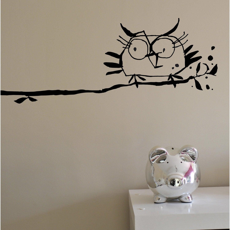 Sticker la chouette 20 cm x 25 cm leroy merlin for Stickers murali leroy merlin