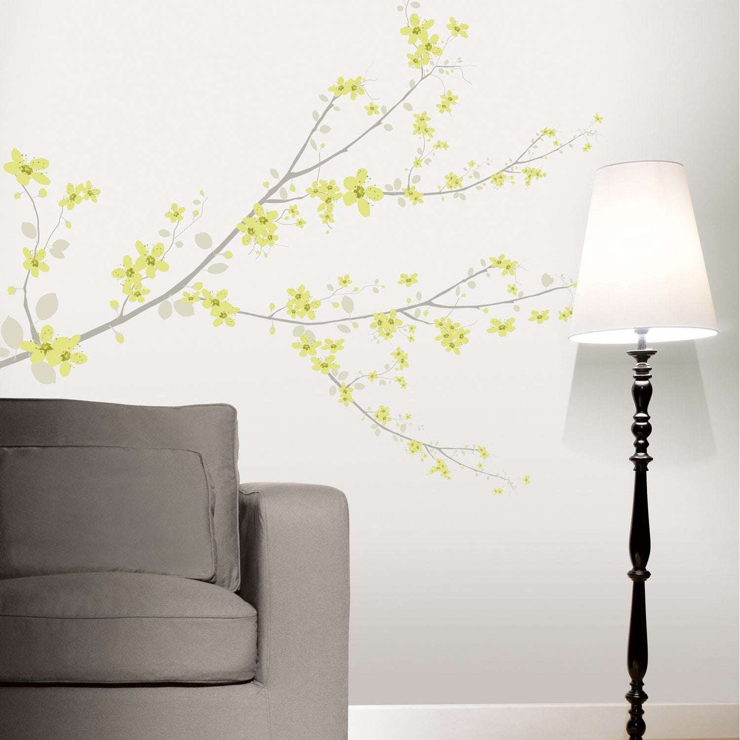 sticker cherry tree vert 47 cm x 67 cm leroy merlin. Black Bedroom Furniture Sets. Home Design Ideas