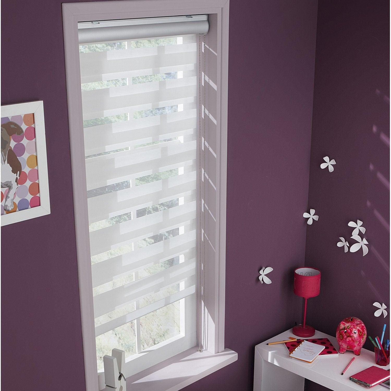 store enrouleur jour nuit polyester coffre aluminium blanc 57 60 x 160 cm leroy merlin. Black Bedroom Furniture Sets. Home Design Ideas