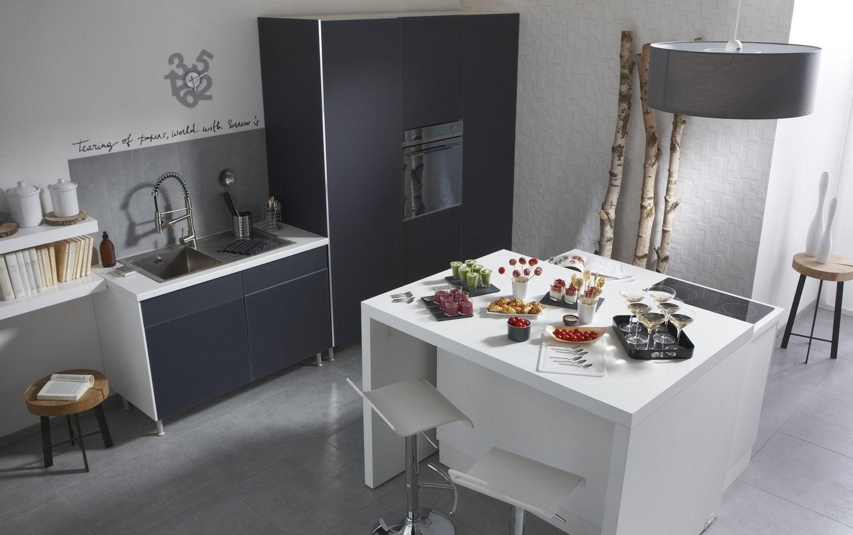 Cuisines delinia armoire de cuisine moderne en with for Armoire de cuisine leroy merlin