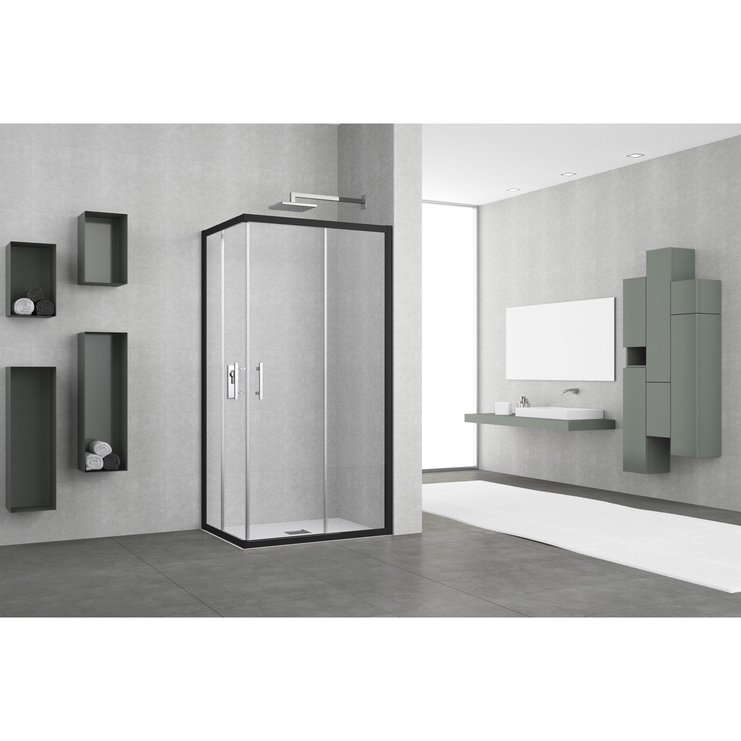 Porte de douche coulissante angle rectangle x cm noir elyt leroy merlin - Porte de douche d angle coulissante ...