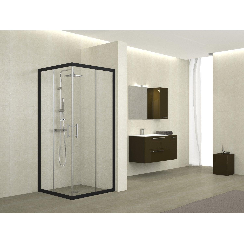 porte de douche coulissante angle carr x cm noir elyt leroy merlin. Black Bedroom Furniture Sets. Home Design Ideas