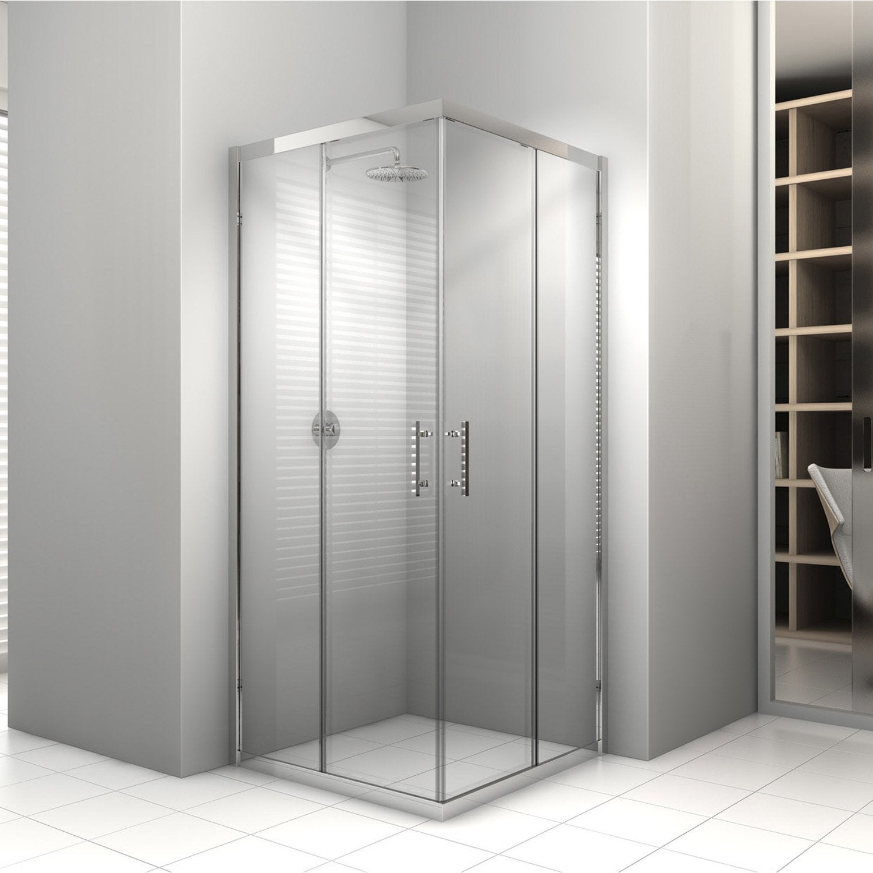 porte de douche coulissante angle carr x cm chrom elyt leroy merlin. Black Bedroom Furniture Sets. Home Design Ideas