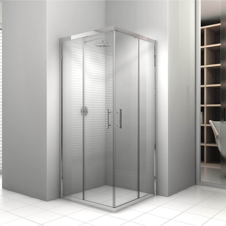 Porte de douche coulissante sensea elyt verre transparent - Porte coulissante verre trempe leroy merlin ...