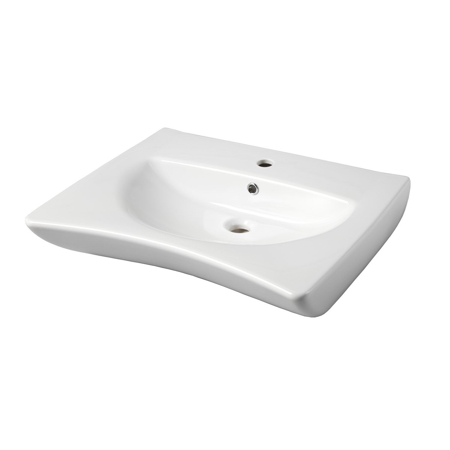 Lavabo en c ramique blanc ergonomic leroy merlin for Lavabo le roy merlin