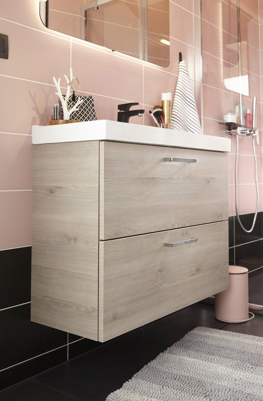 Une salle de bains zen et lumineuse avec douche et double vasques leroy merlin - Vasques leroy merlin ...