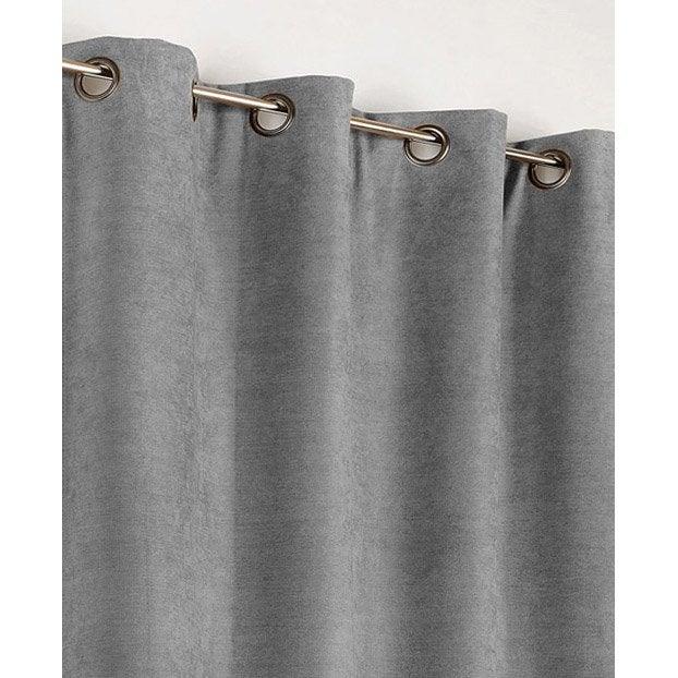 rideau occultant thermique alaska gris clair x h. Black Bedroom Furniture Sets. Home Design Ideas