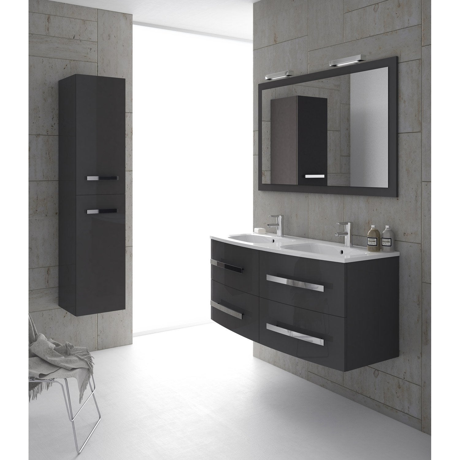 meuble de salle de bains plus de 120 gris argent perla. Black Bedroom Furniture Sets. Home Design Ideas