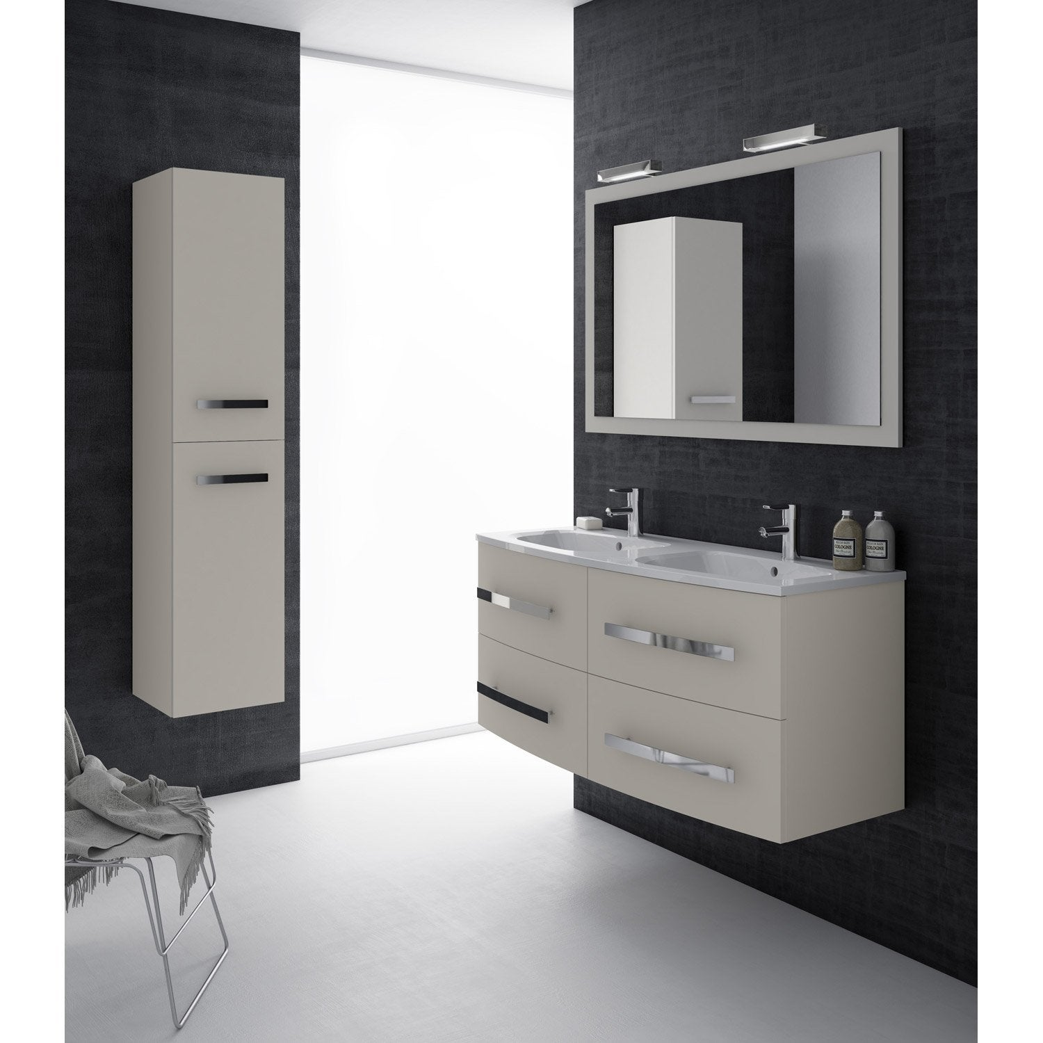 meuble de salle de bains plus de 120 beige perla leroy merlin. Black Bedroom Furniture Sets. Home Design Ideas