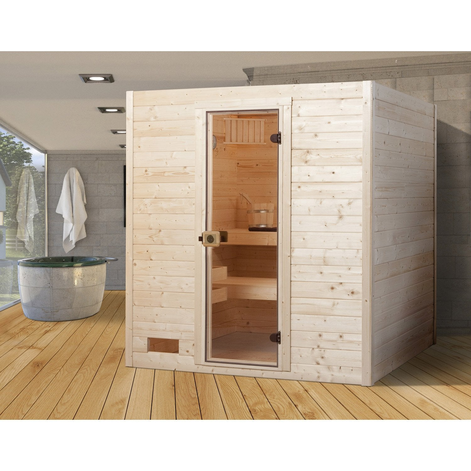 sauna traditionnel 3 places mod le oland 2 weka. Black Bedroom Furniture Sets. Home Design Ideas