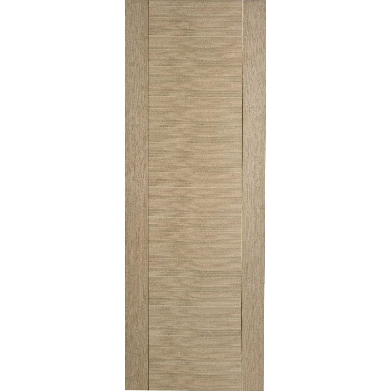 Porte coulissante ch ne plaqu marron helsinki artens 204 x 83 cm leroy me - Porte coulissante pleine ...