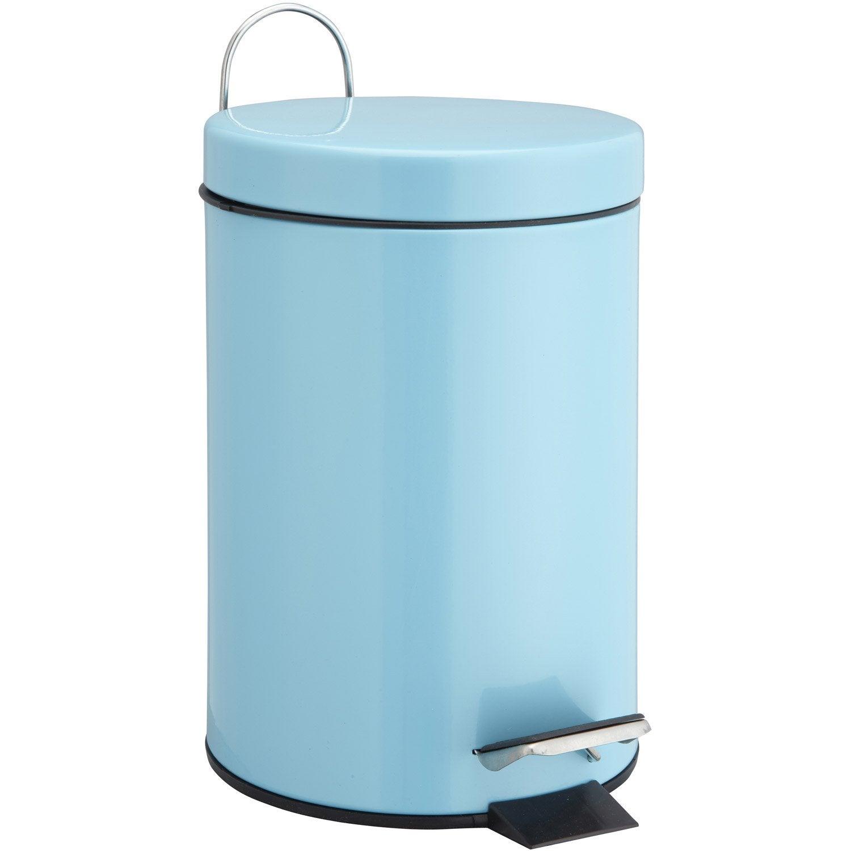 Poubelle de salle de bains 3 l bleu atoll 4 sensea happy for Poubelle salle de bain leroy merlin