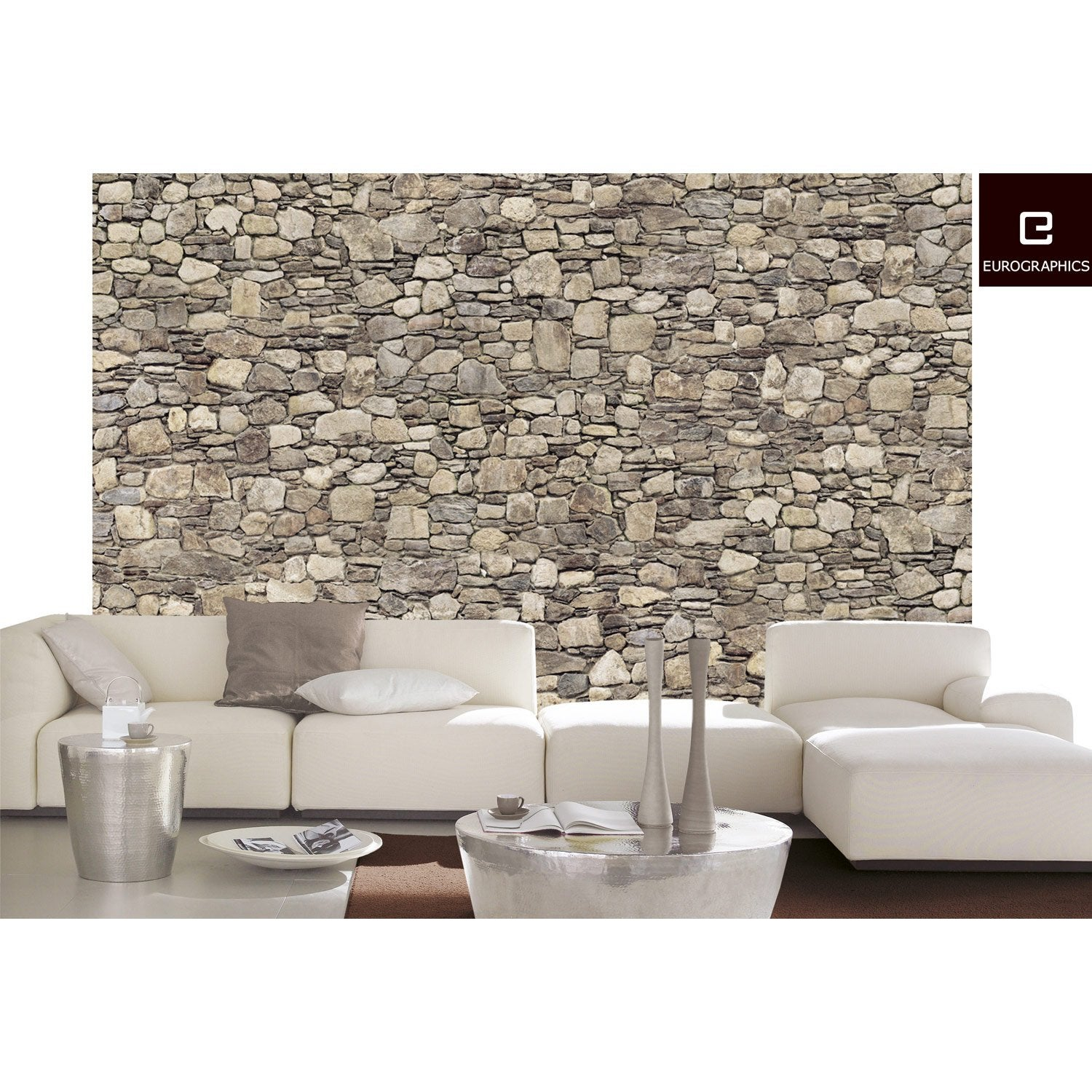 poster xxl de mur stone wall deco wall x cm leroy merlin. Black Bedroom Furniture Sets. Home Design Ideas