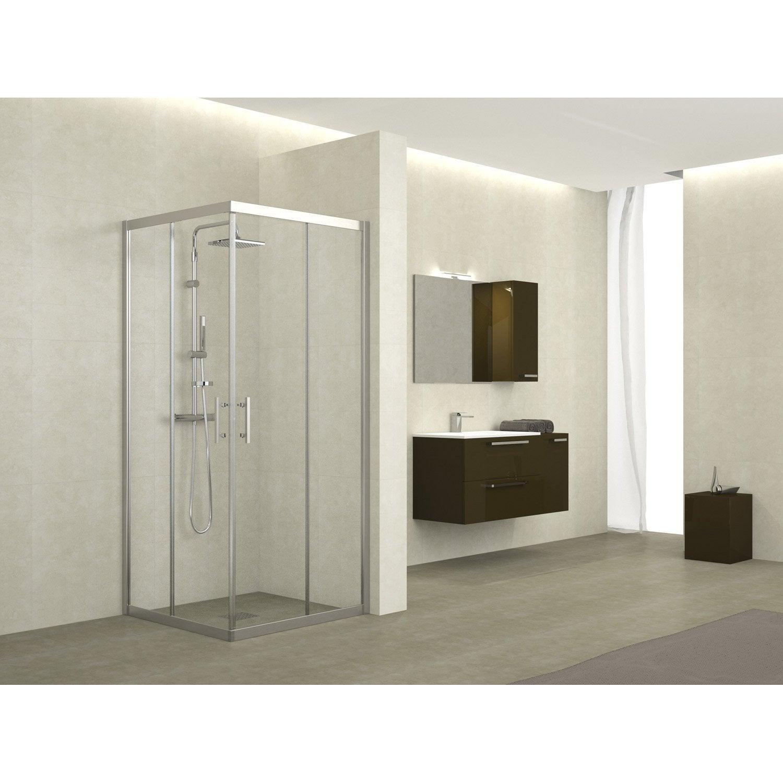 porte de douche coulissante angle carr x cm transparent elyt leroy merlin. Black Bedroom Furniture Sets. Home Design Ideas
