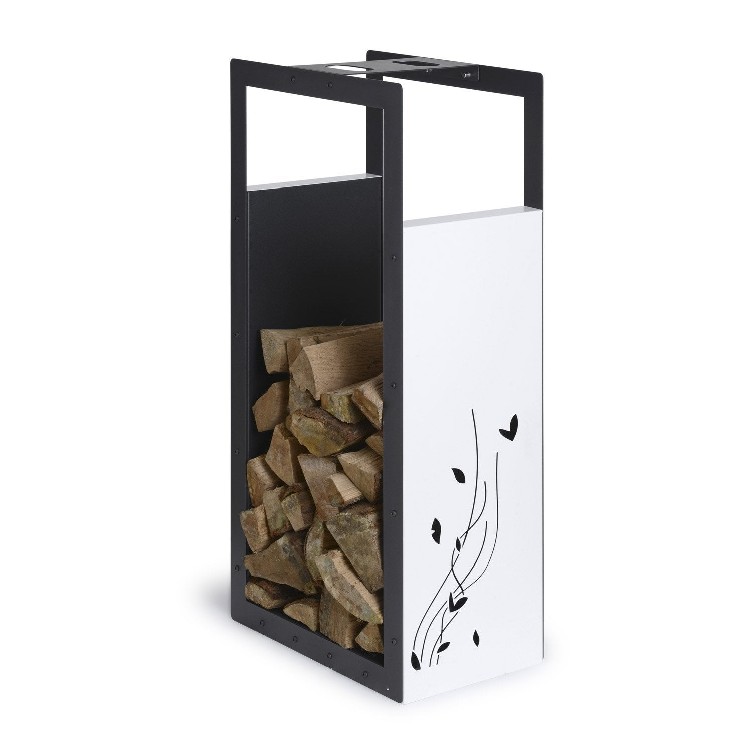 Porte b ches blanc et noir sabl equation x cm for Meuble porte buche