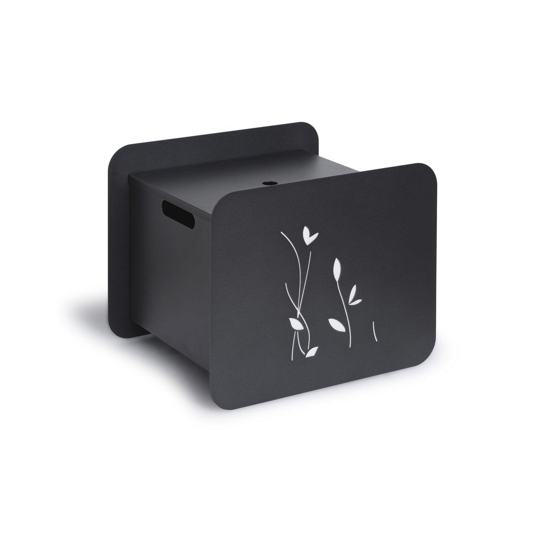 rangement pour bois ou granul s acier laqu noir sabl. Black Bedroom Furniture Sets. Home Design Ideas