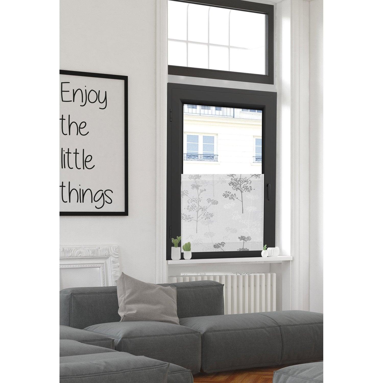 vitrage tamisant grande largeur gramin e blanc gris l. Black Bedroom Furniture Sets. Home Design Ideas