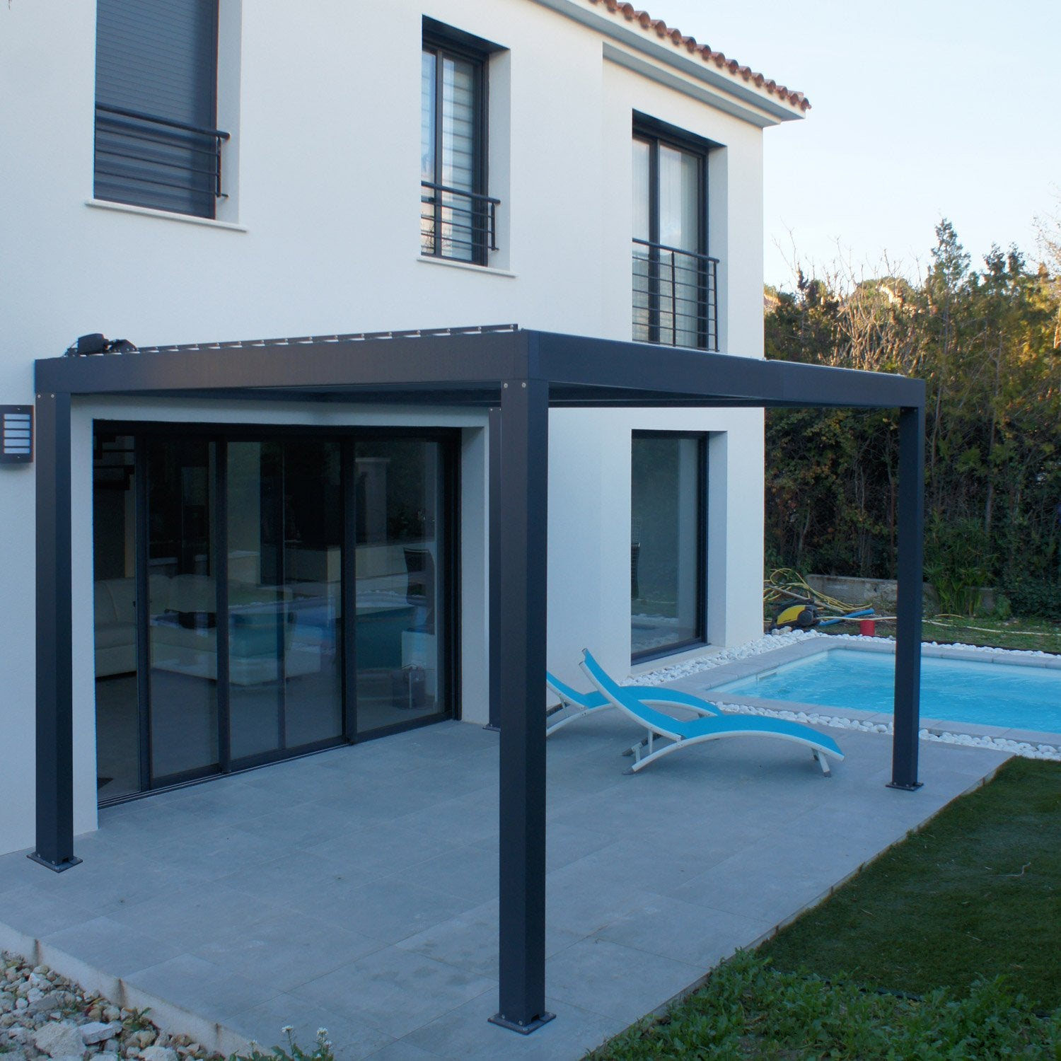 pergola autoportante orient aluminium gris anthracite 9 m leroy merlin. Black Bedroom Furniture Sets. Home Design Ideas