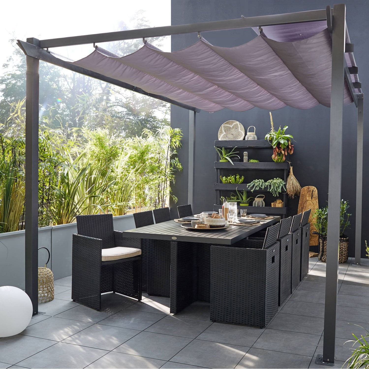 pergola autoportante aluminium moins de 12 m leroy merlin. Black Bedroom Furniture Sets. Home Design Ideas