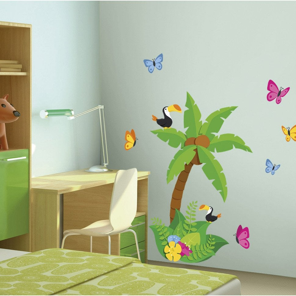 Sticker jungle 48 cm x 68 cm leroy merlin - Sticker mural leroy merlin ...